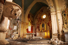Old, Demolished church – inside, interior. Stock Photo