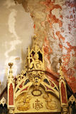 Old, Demolished church – inside, interior. Royalty Free Stock Images
