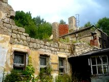 Old demolished house. A demolished hotel in the Czech republic Royalty Free Stock Photos