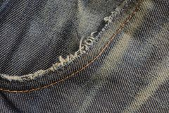 Old denim Jeans pocket texture background Stock Photo
