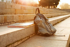 Old denim school backpack Royalty Free Stock Photography