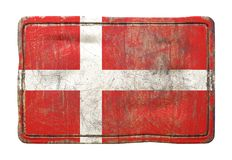Old Denmark flag. 3d rendering of a Denmark flag over a rusty metallic plate. Isolated on white background Royalty Free Stock Image