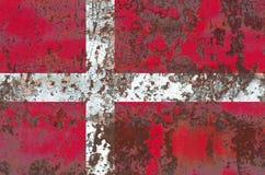 Old Denmark grunge background flag.  Stock Image