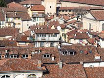 Old dense urban development in Bergamo town. Travel to Italy - above view of old dense urban development from Campanone (Torre civica) bell tower in Citta Alta ( royalty free stock images