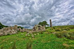 Old Derelict Graite Tin Mine on top of Dartmoor in England. Old Derelict Graite abandoned Tin Mine at Dartmoor . Dartmoor National Park its a vast moorland in royalty free stock photography