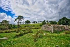 Old Derelict Graite Tin Mine on top of Dartmoor in England Stock Image