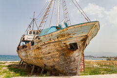Old Derelict Wooden Fishing Boat Wreck Stock Photo