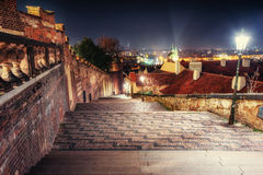 Old deserted night street Prague.  Czech republic, beautiful arc. Hitecture in baroque style Royalty Free Stock Photo