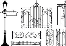 Old design elements of city streets. Silhouettes isolated on white Vector Illustration