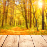 Old desk and nature background Stock Photo