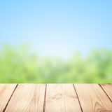 Old desk and nature background Royalty Free Stock Photography