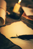 Old desk with vintage stationery in candlelight Stock Photos