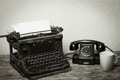 Old. Desk writer photo secretary print desaturated Stock Image