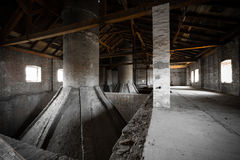Old desolate brewery attic of his, his chimneys Royalty Free Stock Photography