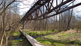 Old desolate bridge and bike path Royalty Free Stock Photography