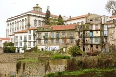 Old desolated abandoned houses in Porto center, Portugal.  stock image