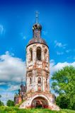 The old destroyed abandoned church. Blue sky. Old brick ruined abandoned church Stock Image