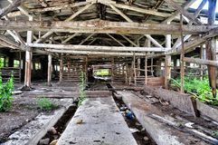 Old destroyed an abandoned farm in the Krasnodar region Royalty Free Stock Photography