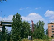 old destroyed bridge across the Dnieper River, in the city of Kiev Royalty Free Stock Photography