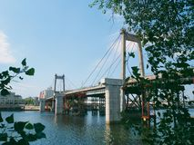 old destroyed bridge across the Dnieper River, in the city of Kiev Stock Photo