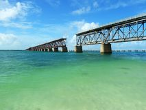 Old destroyed bridge over Gulf of Mexico Royalty Free Stock Images