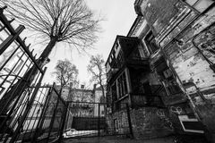 Old destroyed building. Black and white old destroyed building Royalty Free Stock Photo