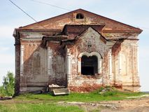 Old destroyed church close-up, the beginning of repair work Royalty Free Stock Photos