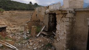 Old destroyed home. Old destroyed house in village. Ruin conceppt stock video footage