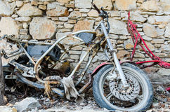 Old destroyed motorcycle Stock Images