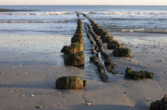Old destroyed pier at Atlantic City. View on the ocean Royalty Free Stock Images