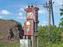 The old destroyed rural electric distributive transformer Royalty Free Stock Photo