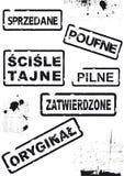 Old destroyed stamps. Illustration of old destroyed square stamps, PL, black and white Royalty Free Illustration