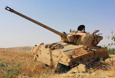 Old destroyed tank in Israel Stock Photo