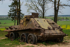 Old destroyed tank. Stalin Line, suburb of Minsk, Belorussia, spring Royalty Free Stock Photos