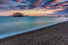 The old destroyed West Pier in Brighton Royalty Free Stock Image