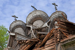 The old destroyed wooden church. In Karelia Royalty Free Stock Photo