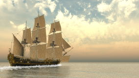 Old detailed ship HSM Victory - 3D render Royalty Free Stock Photography