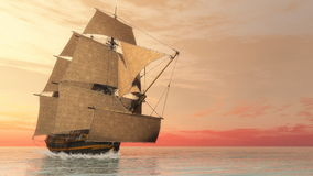 Old detailed ship HSM Victory - 3D render Royalty Free Stock Photos