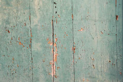 Old deteriorated turquoise wooden texture Stock Photography