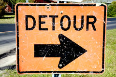 Old Detour Sign Stock Photos