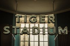 Old Detroit Tiger Stadium Sign. Detroit, Michigan, USA - March 28, 2018: Vintage Tiger Stadium sign from the original Detroit Tiger field. The stadium was home Stock Photos