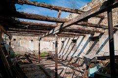 Old devastated barn stock photo