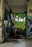 Abandoned water park, Hue. Old devastated building in old water park complex near to Vietnam town Hue. On the wall are color graffiti stock images