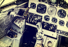 Old device in the pilot cockpit Stock Photography