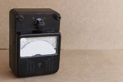 Old devices for electrical measurements. Old electrical equipment stock photography