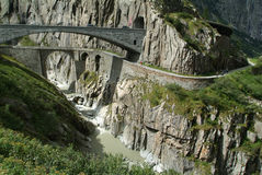 Old Devil's Bridge near Andermatt Stock Photos