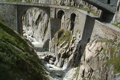 Old Devil's Bridge near Andermatt Stock Photography