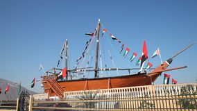Old dhow in Khorfakkan, UAE stock footage