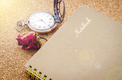 The old diary with dry red roses. Royalty Free Stock Photo