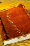 Old diary with leather binding Stock Photography